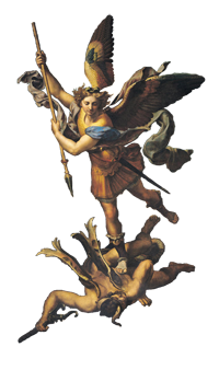 St. Raphael: Michael subdues a demon.